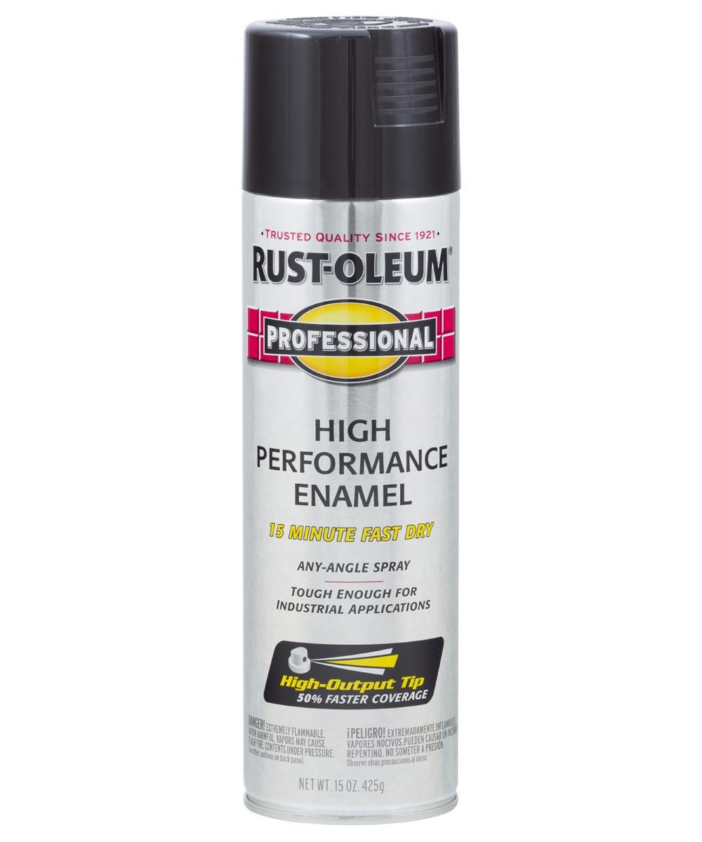 Professional High Performance Enamel Spray Paint, 15 oz., Gloss Black
