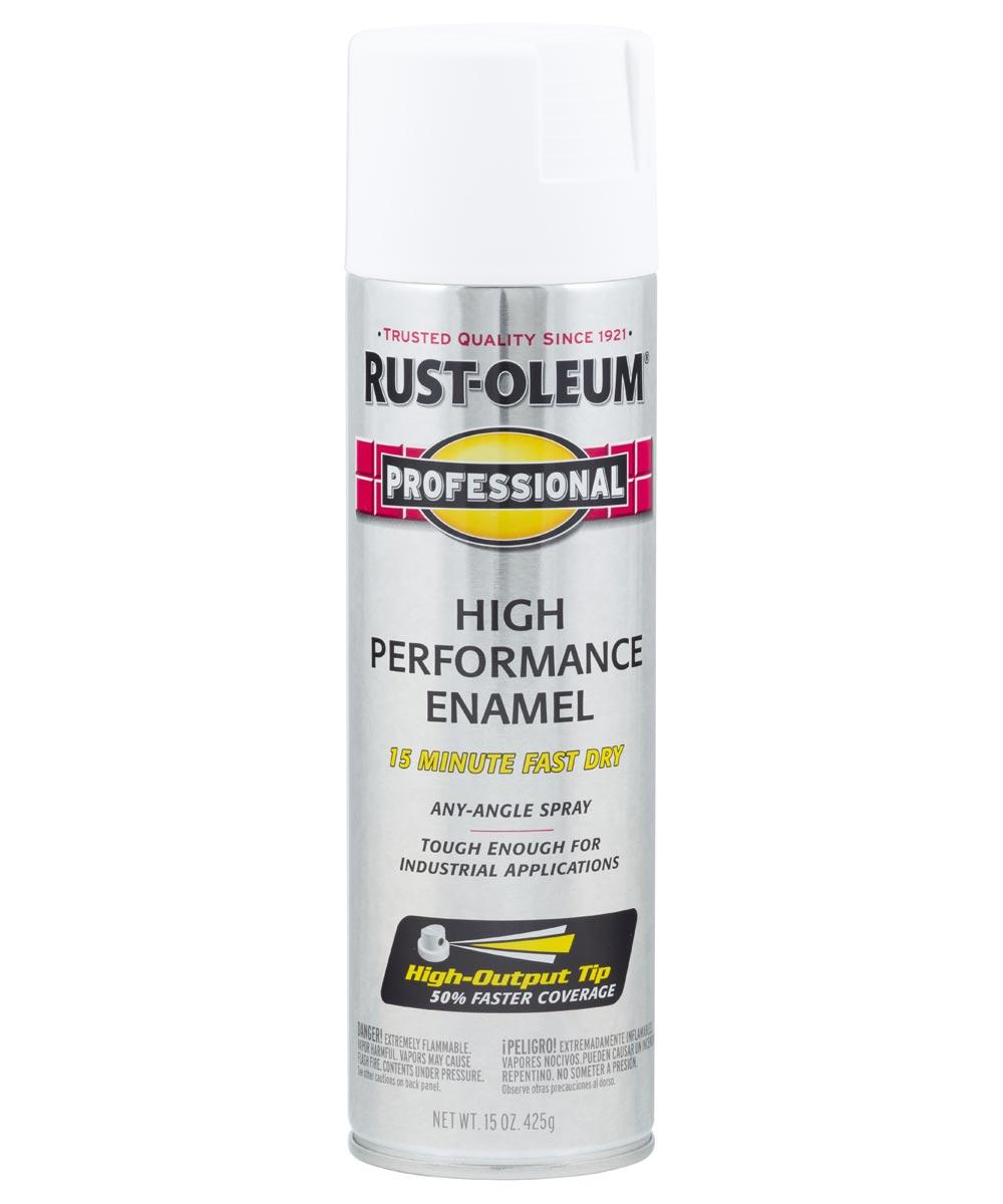Professional High Performance Enamel Spray Paint, 15 oz., Flat White