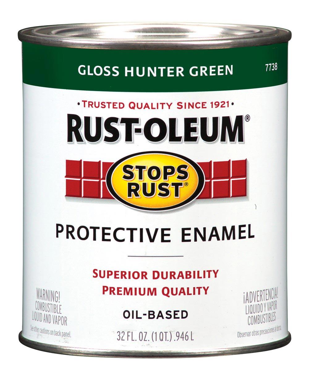 Stops Rust Protective Enamel Oil-Based Paint, 1 Quart, Gloss Hunter Green