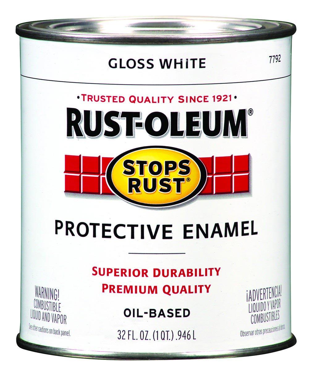 Stops Rust Protective Enamel Oil-Based Paint, 1 Quart, Gloss White