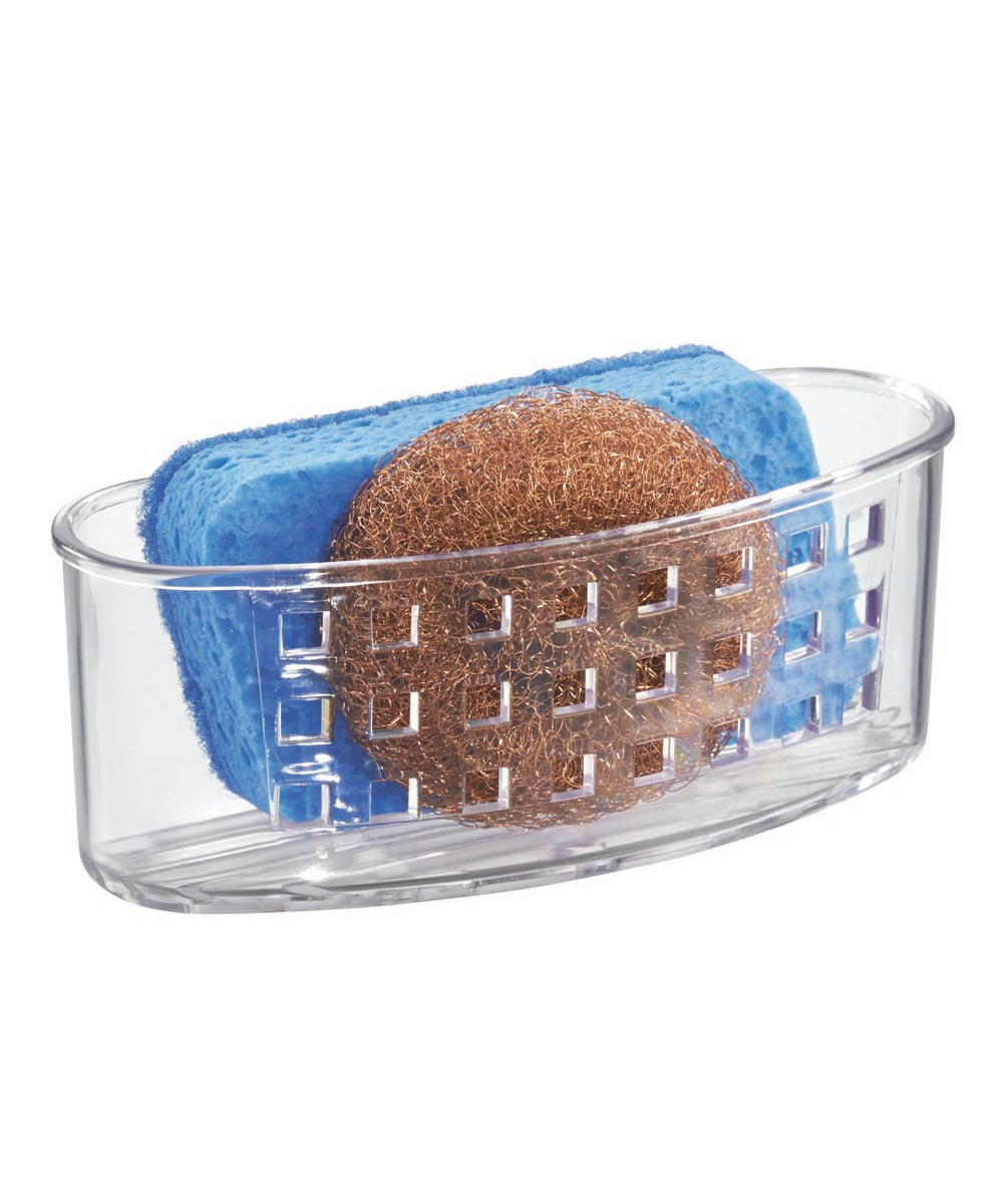 SinkWorks Kitchen Scrub Center Sponge & Scrubber Holder with Suction Cups, Clear Color