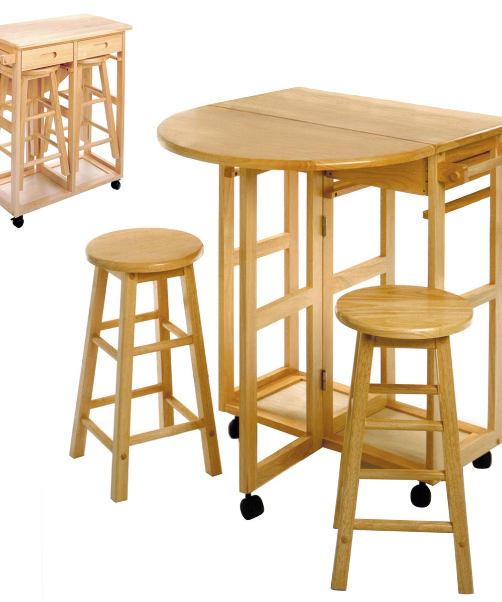 32.8 in. Beech Wood Breakfast Bar Cart With 2 Round Stools