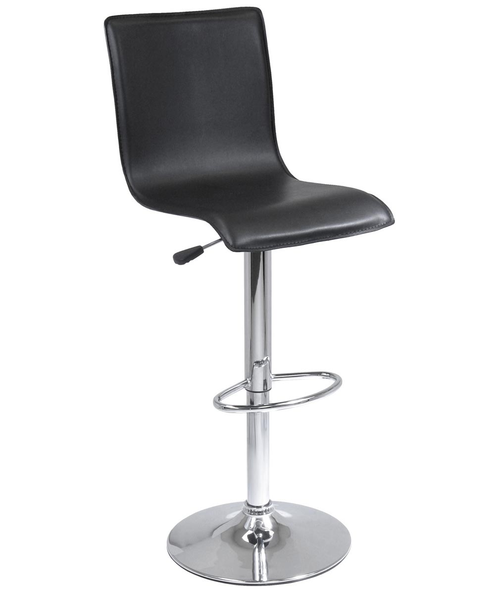 Black Faux Leather & Chrome Swivel Stool With High-Back