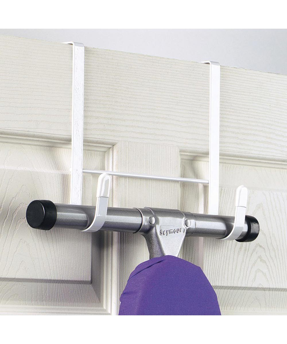 White Over the Door Ironing Board Holder