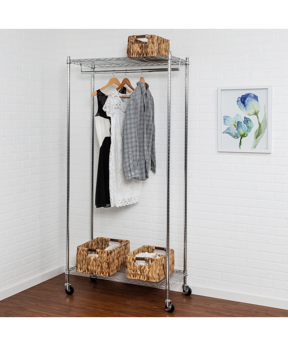 Heavy Duty Chrome Urban Rolling Garment Rack, 73 x 18 x 35-4/5 Inches