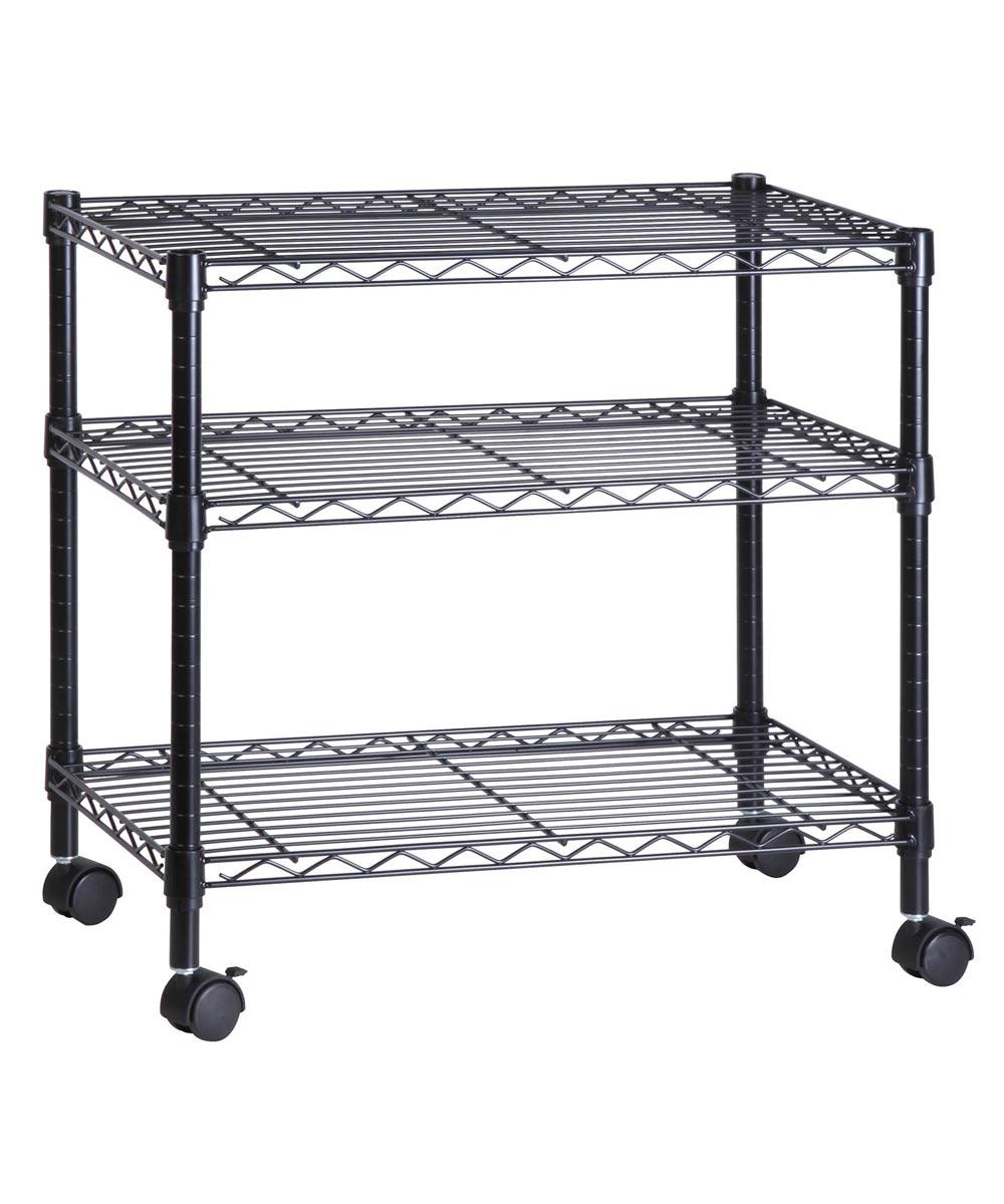 3-Tier Media Cart, Black, 16x28x26 Inches