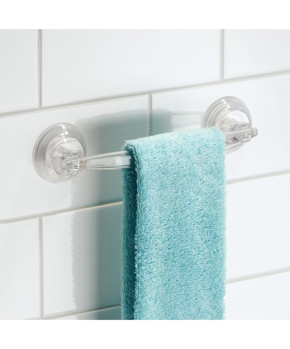 Power Lock Suction Plastic Towel Bar, Clear