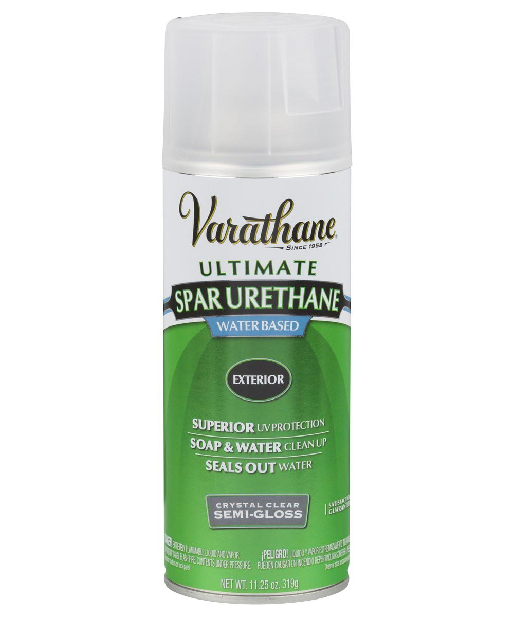Varathane Ultimate Spar Urethane Exterior Water Based Spray Paint, 11.25 oz., Crystal Clear Semi-Gloss