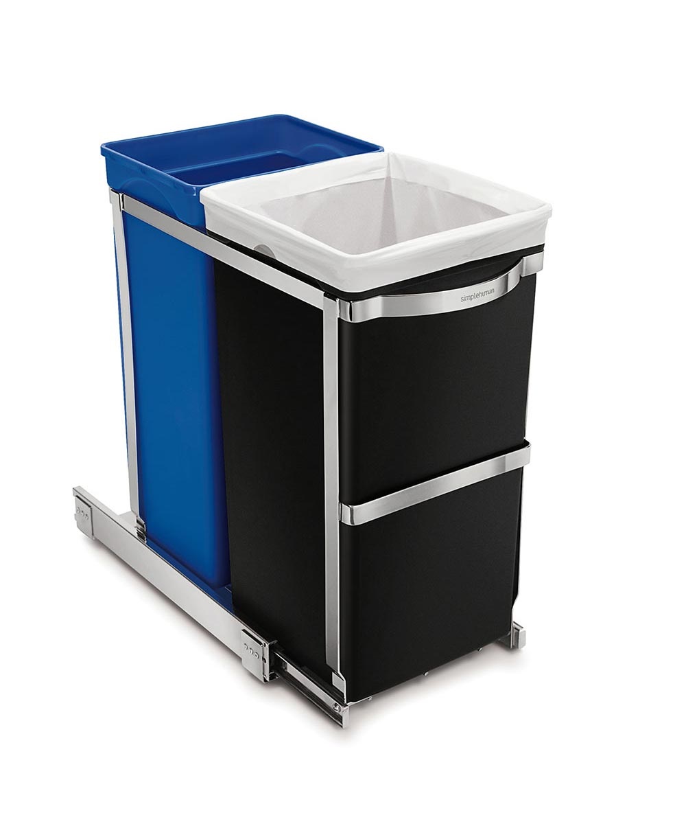 35 Liters/9.2 Gallons Under Counter Pull-Out Recycler + Trash Can