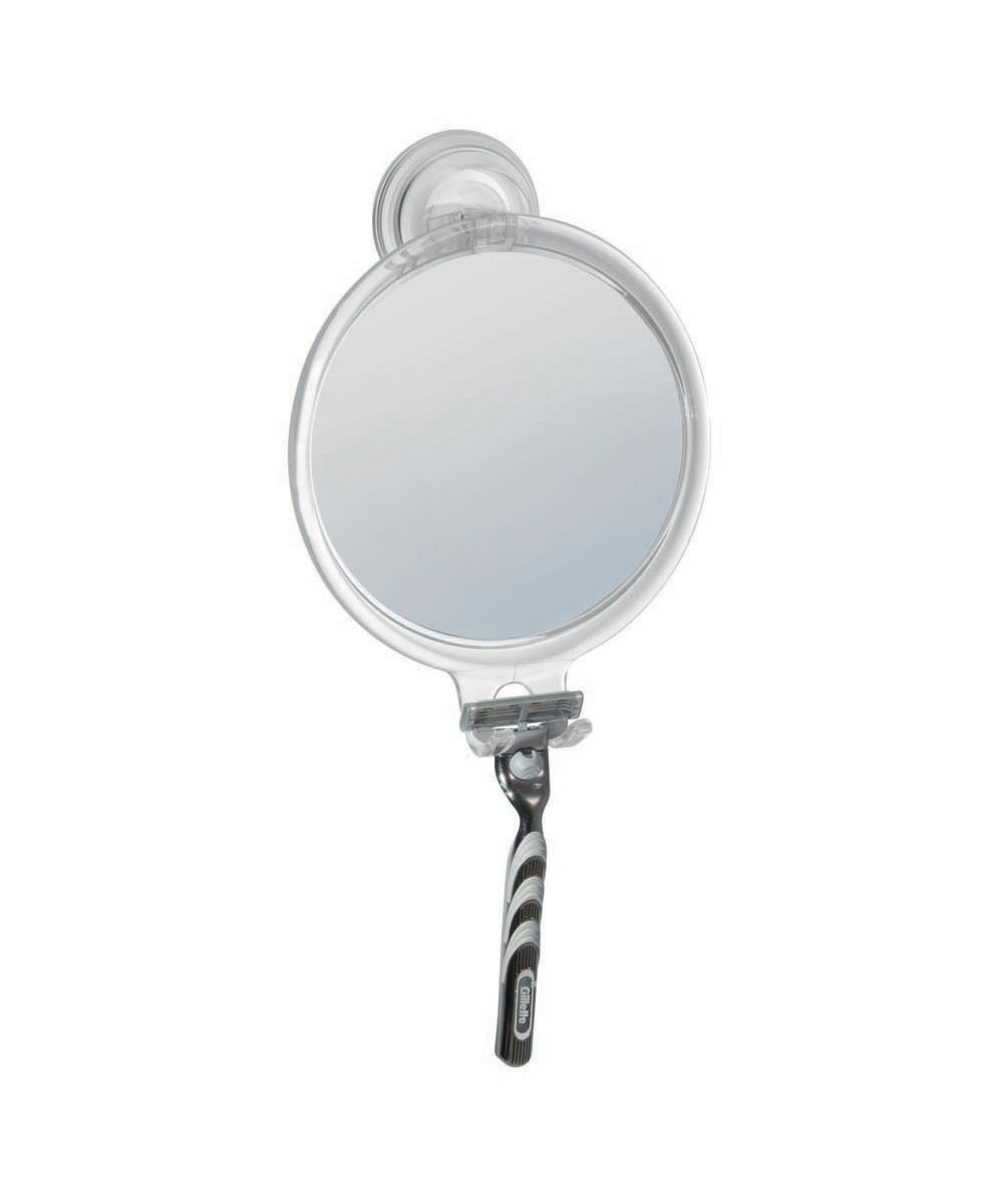 Power Lock Suction Bathroom Shower Shaving Mirror with Razor Holder
