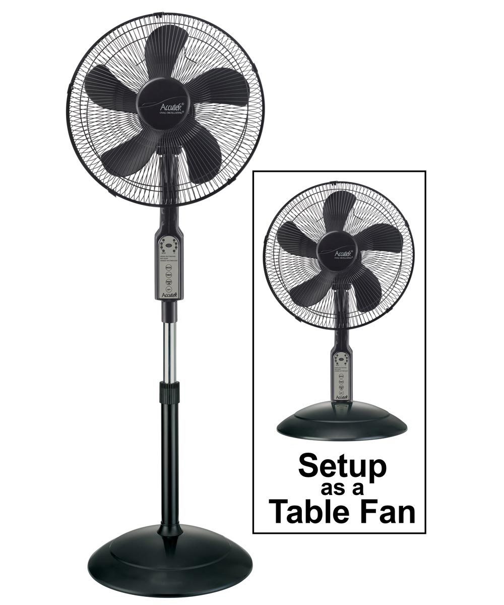 16 in. Oval Oscillating 2-in-1 Stand/Table Fan with Remote, 3 Speed, Black