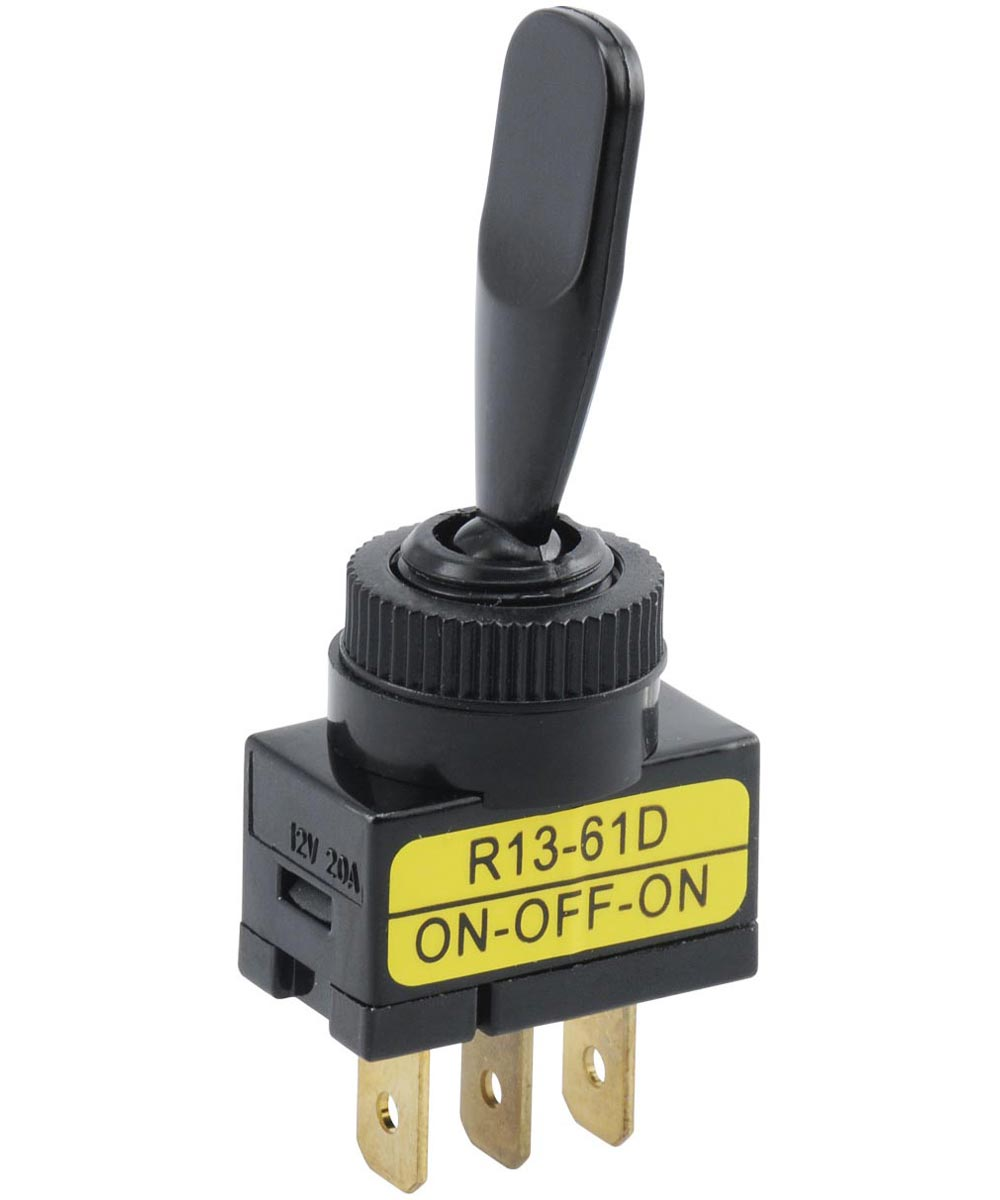 Black Paddle SPDT On-Off-On Toggle Switch (20 Amp)