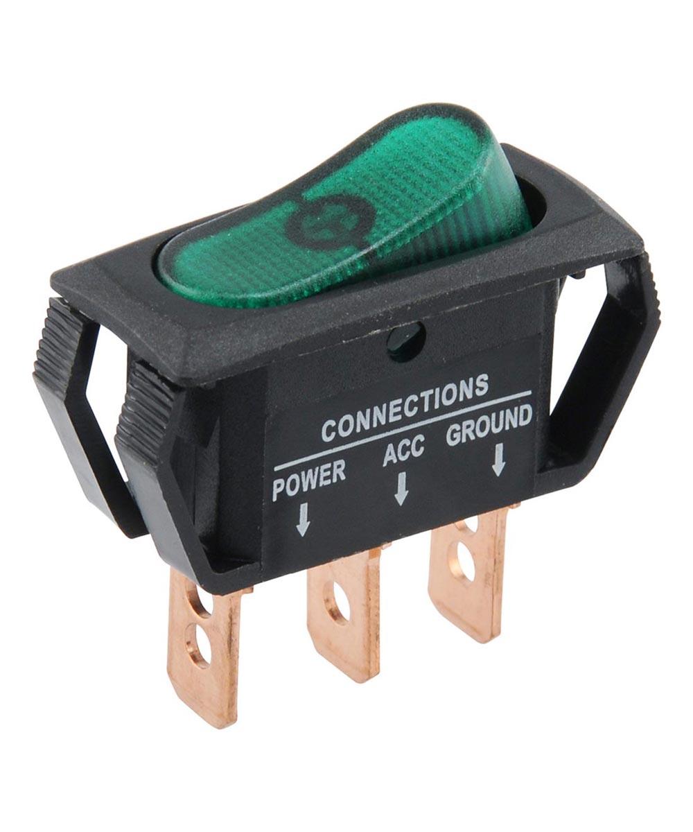 Green SPST On-Off Lighted Rocker Switch (25 Amp)