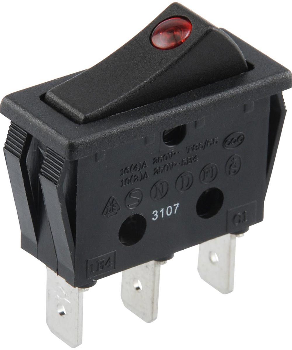Red SPST LED Lighted Rocker Switch (25 Amp)