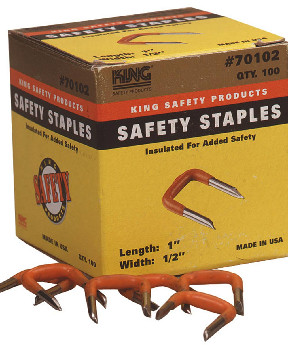 1/2 in. Orange Insulating Safety Staples 100 Count