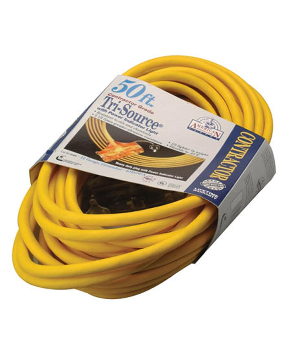 50 ft. 12/3 Yellow American Contractor Tri-Source Ext Cord