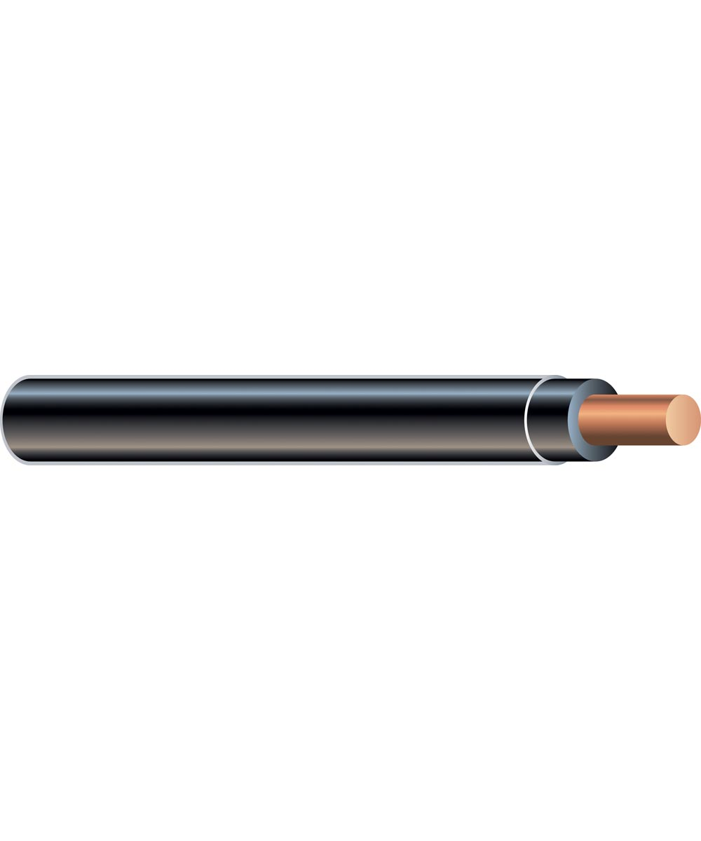 10 AWG Black Solid THHN Copper Conductor (Sold Per Foot)