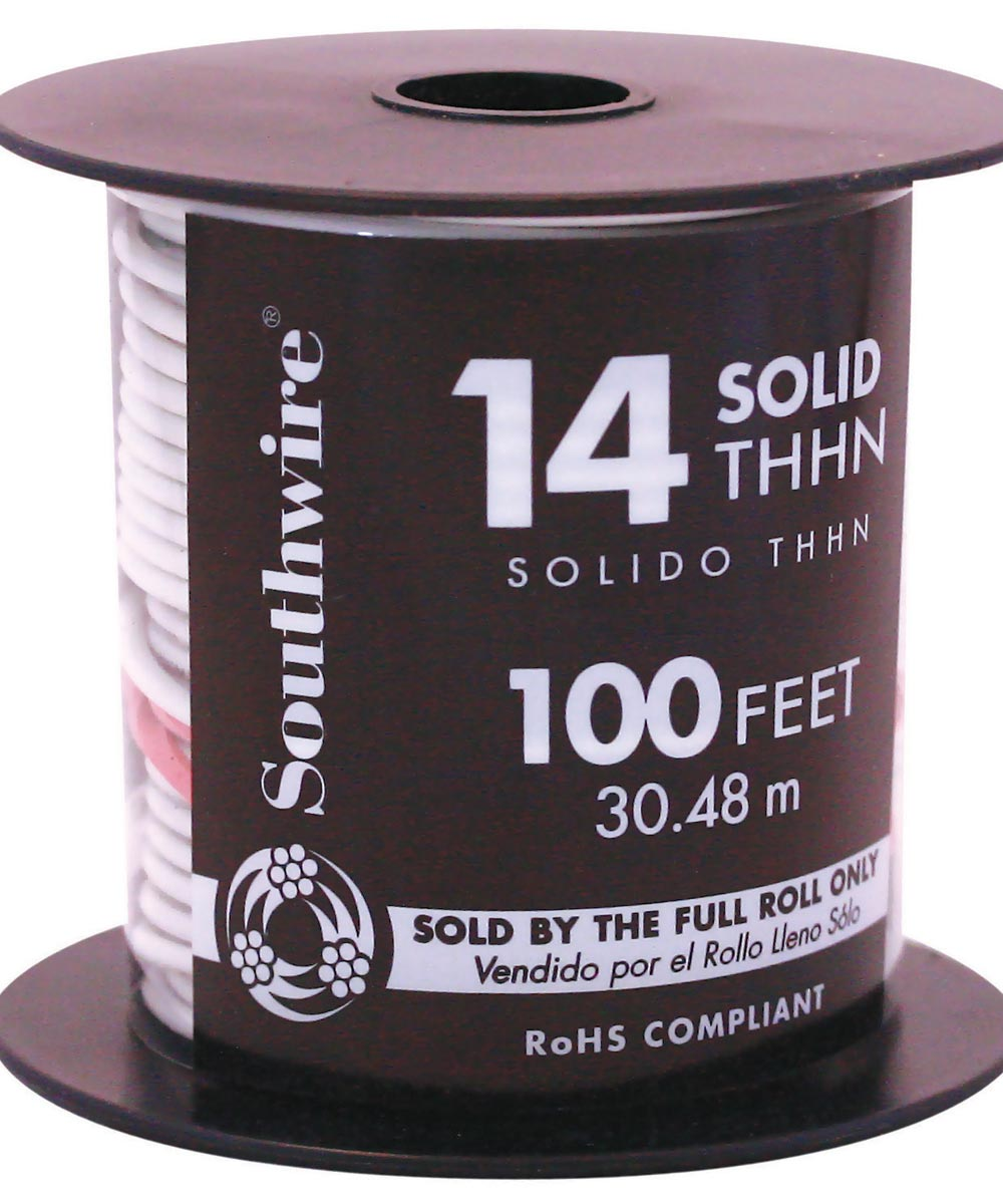 100 ft. 14 Gauge White THHN Solid Wire