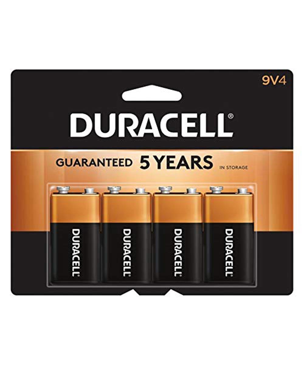 Duracell CopperTop 9V Alkaline Battery, 4 Pack