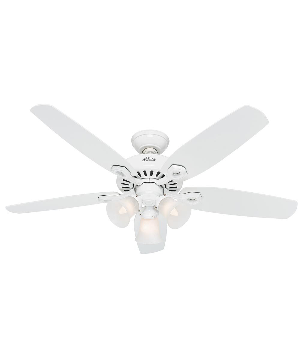 Hunter 52 in. Builder Plus 5 Blade Ceiling Fan with 3 Lights, Snow White