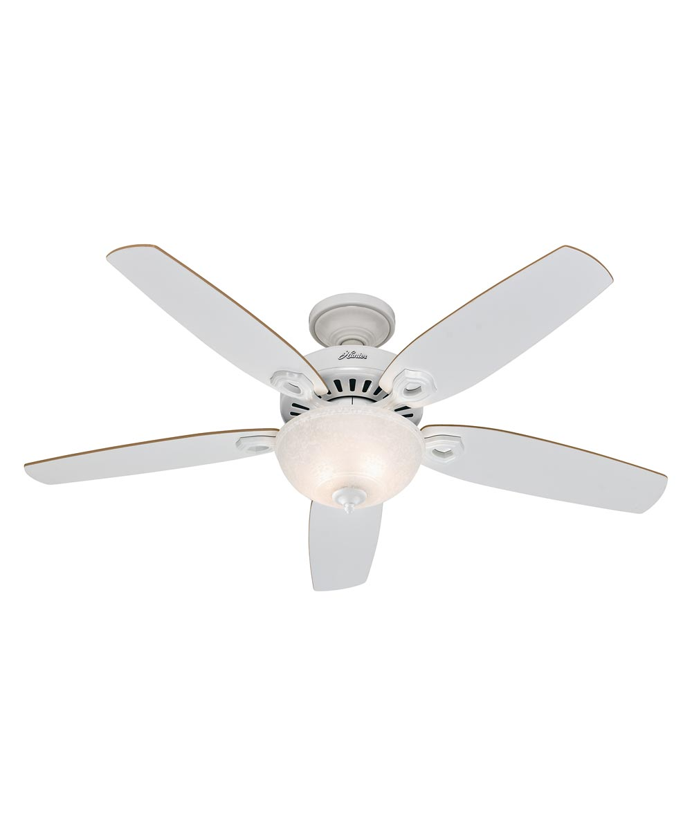 Hunter 52 in. Builder Deluxe 5 Blade Ceiling Fan with Light, White