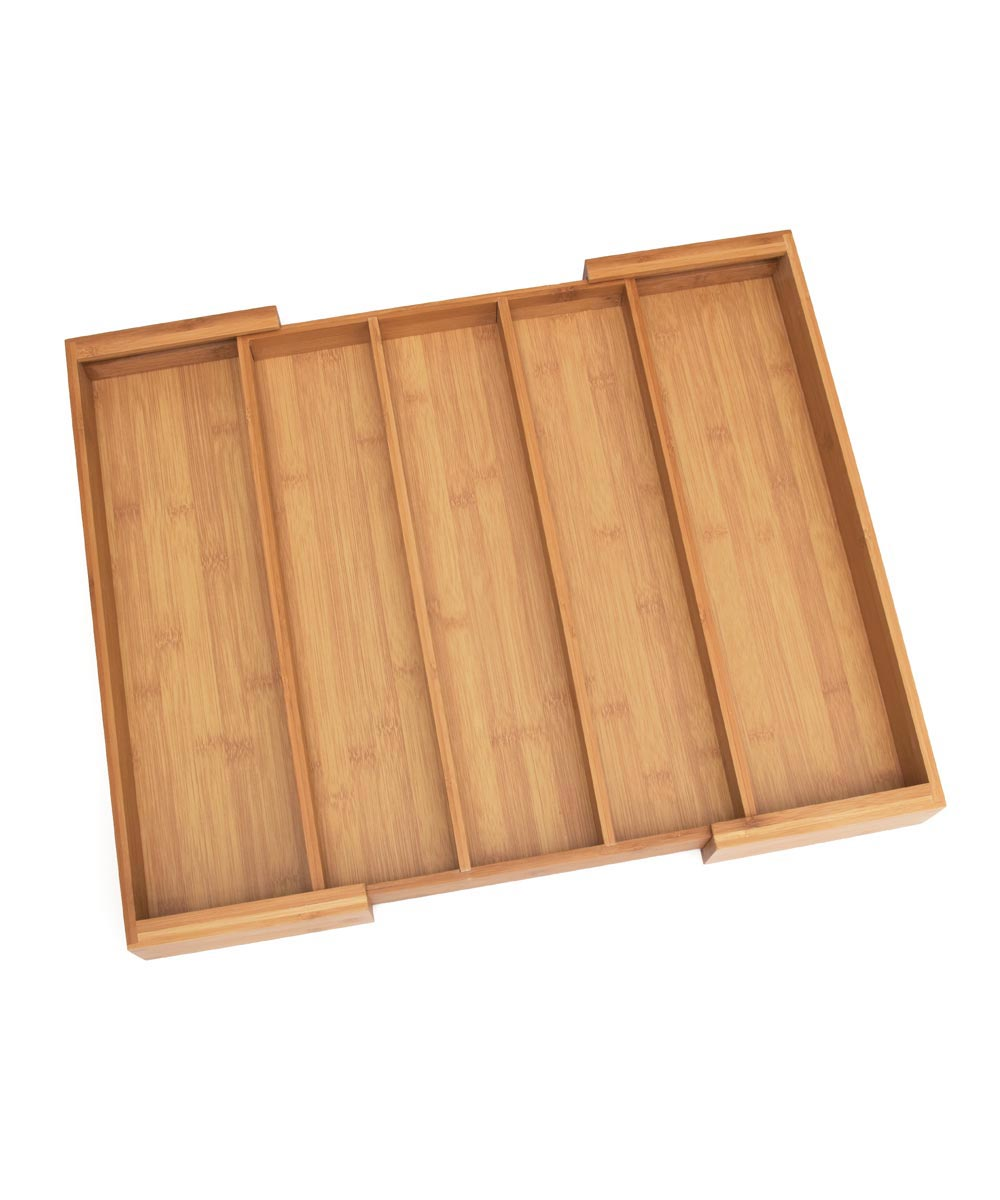 Bamboo Expandable Utensil Organizer Tray with 3 to 5 Compartments
