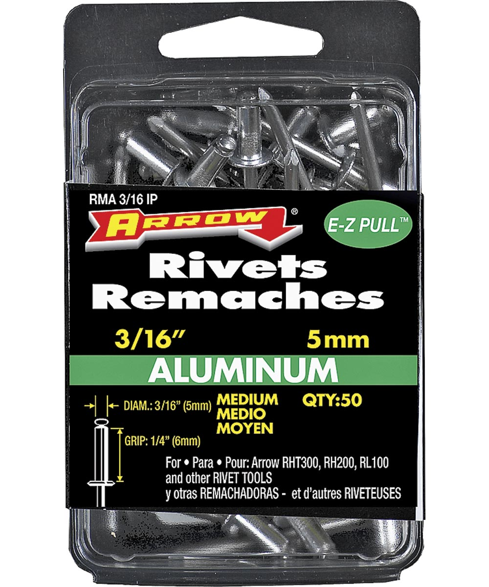 Medium Pop Rivet, 3/16 in. (Dia) x 4 in. (L), Aluminum, Gray