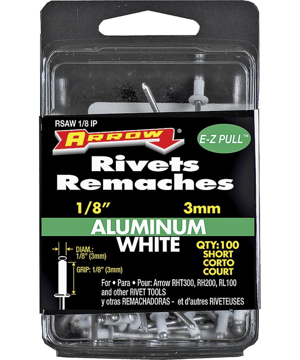 Short Pop Rivet, 1/8 in. (Dia) x 4 in. (L), Aluminum, White