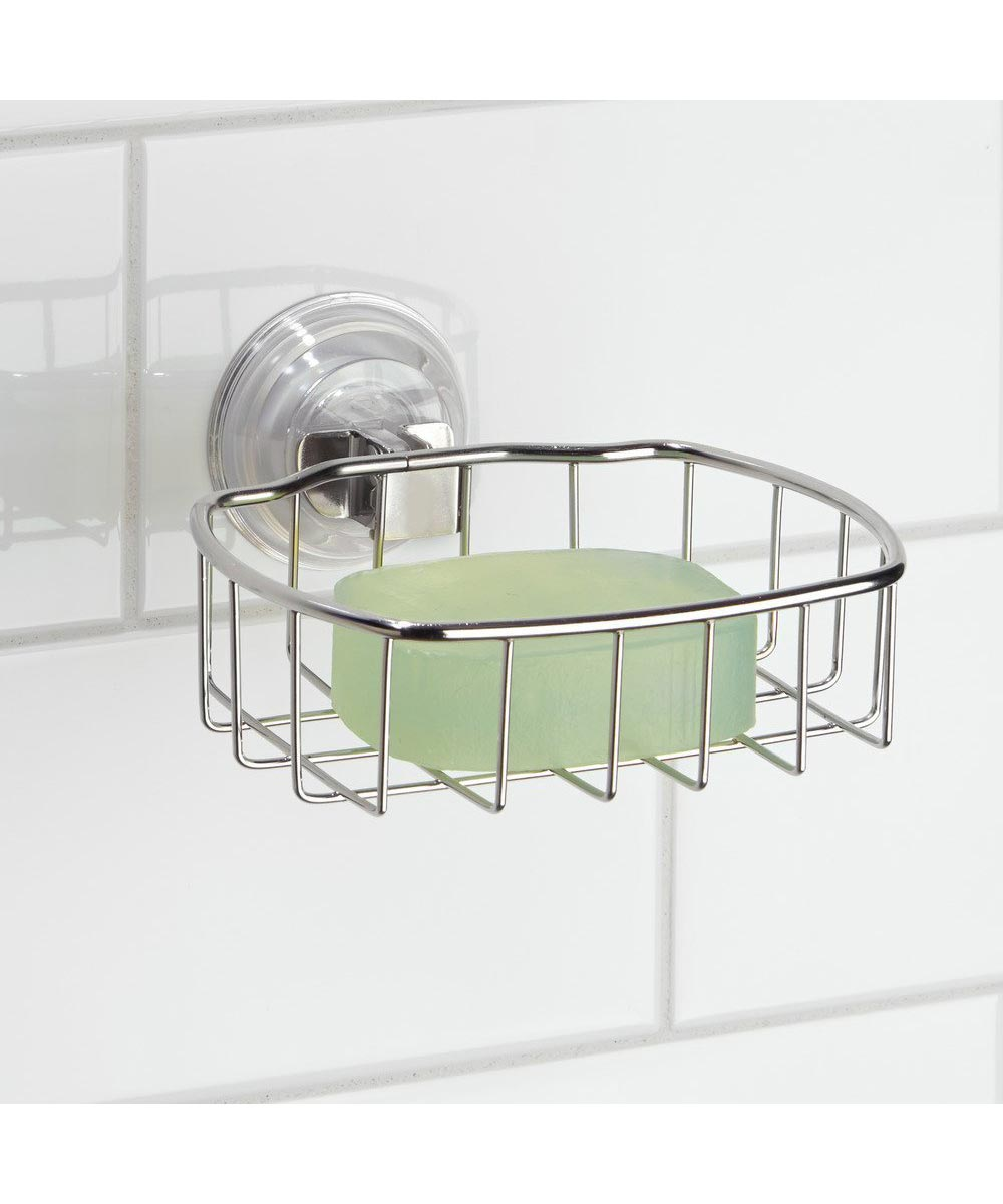 Reo Power Lock Suction Metal Wire Soap Holder Dish, Stainless Steel
