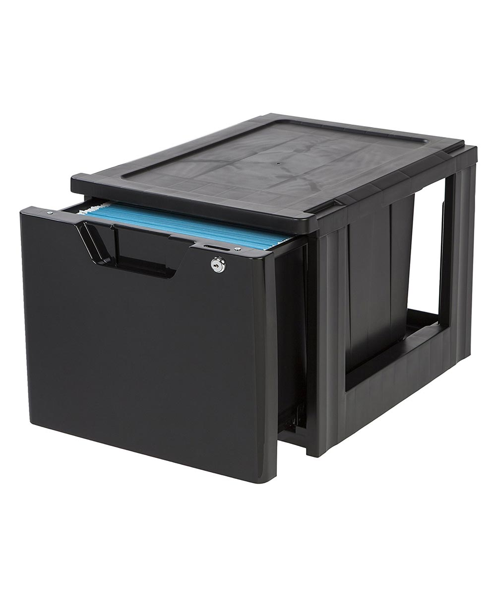 Stacking Document File Drawer with Lock & Key, Black