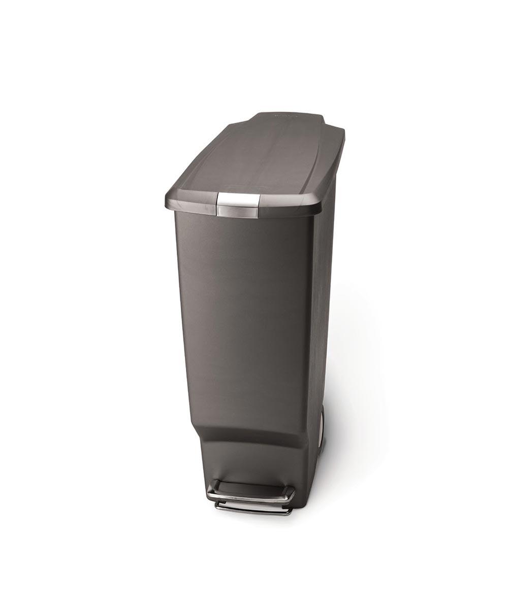 40 Liters/10.6 Gallons Slim Step Trash Can, Gray Plastic