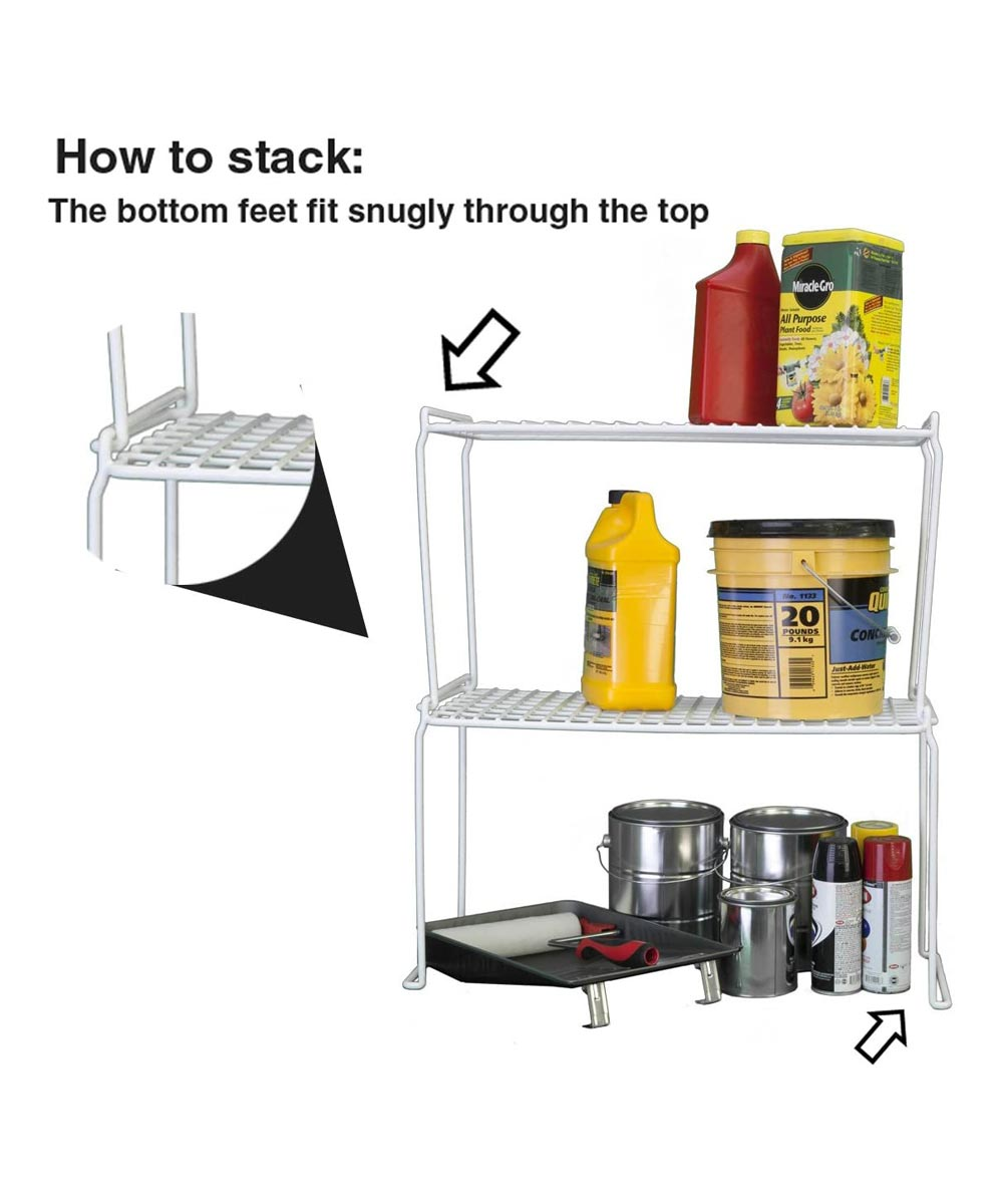 Long Heavy Duty Stacking Shelf, White