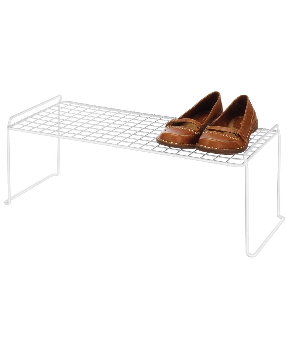 White Expandable & Stackable Shoe Rack