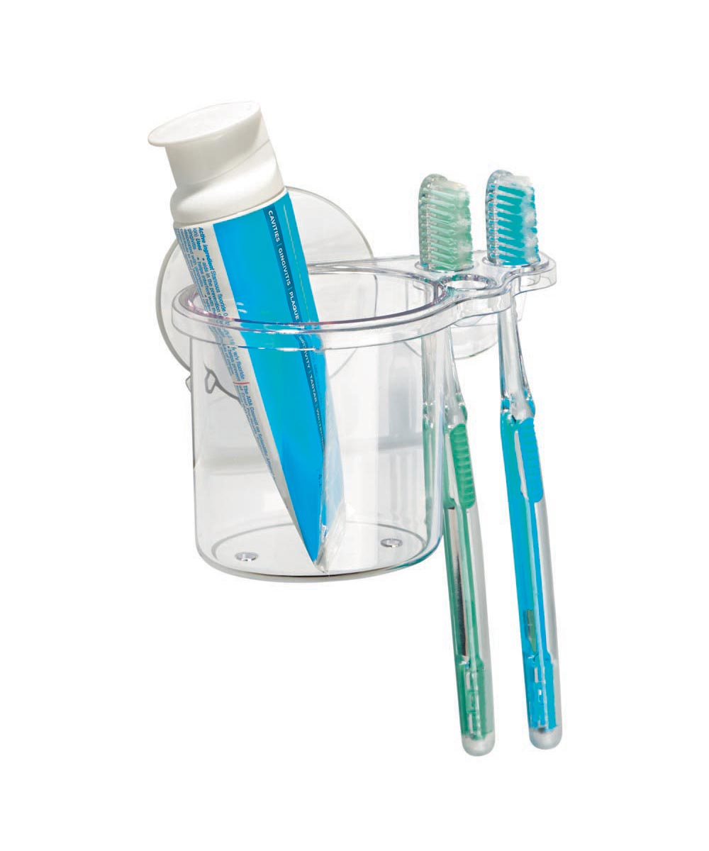 Bathroom Shower Suction Toothbrush and Toothpaste Holder, Clear