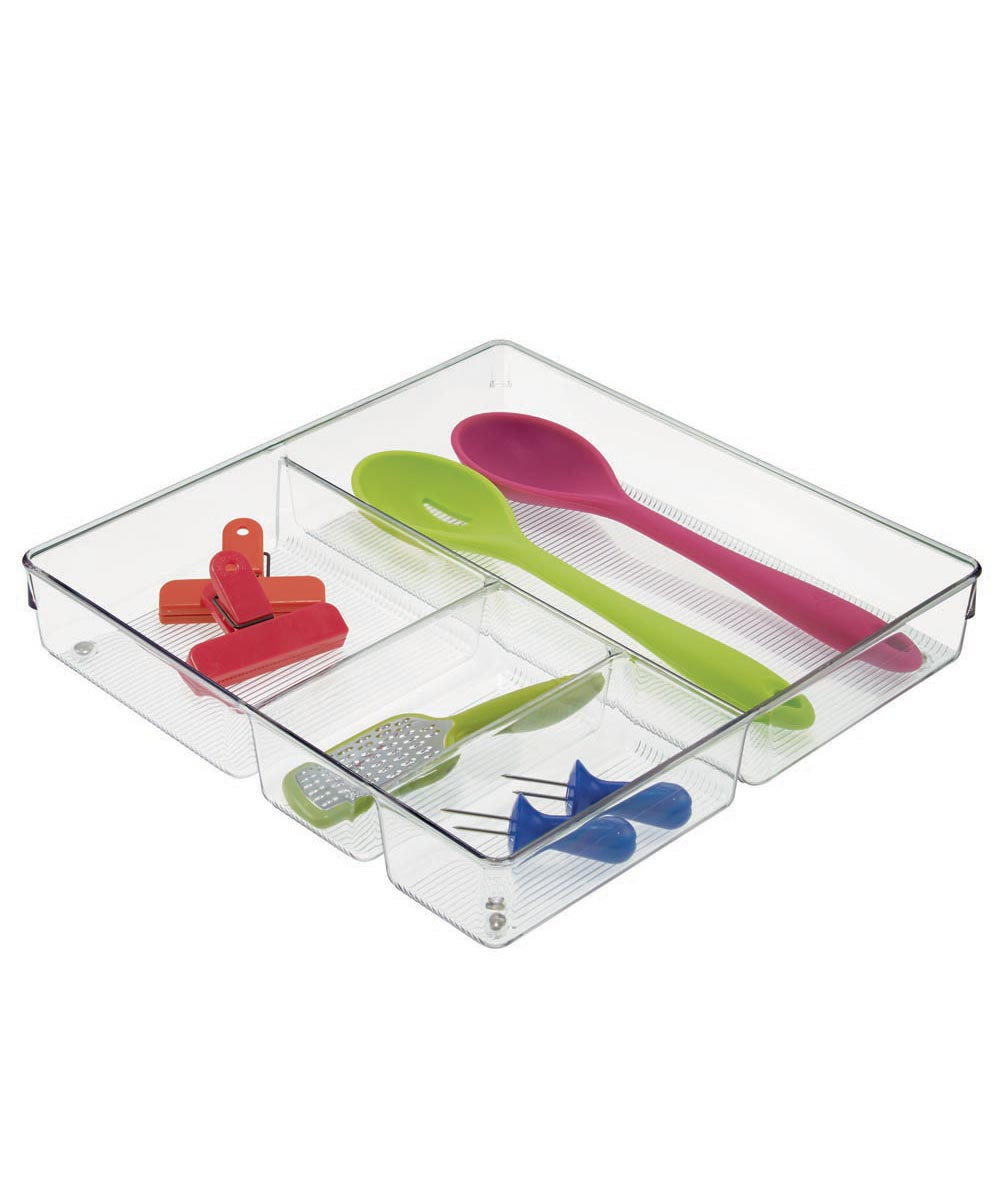 Linus Kitchen Drawer Organizer with 4 Compartments, Clear, 12x12x2 Inches