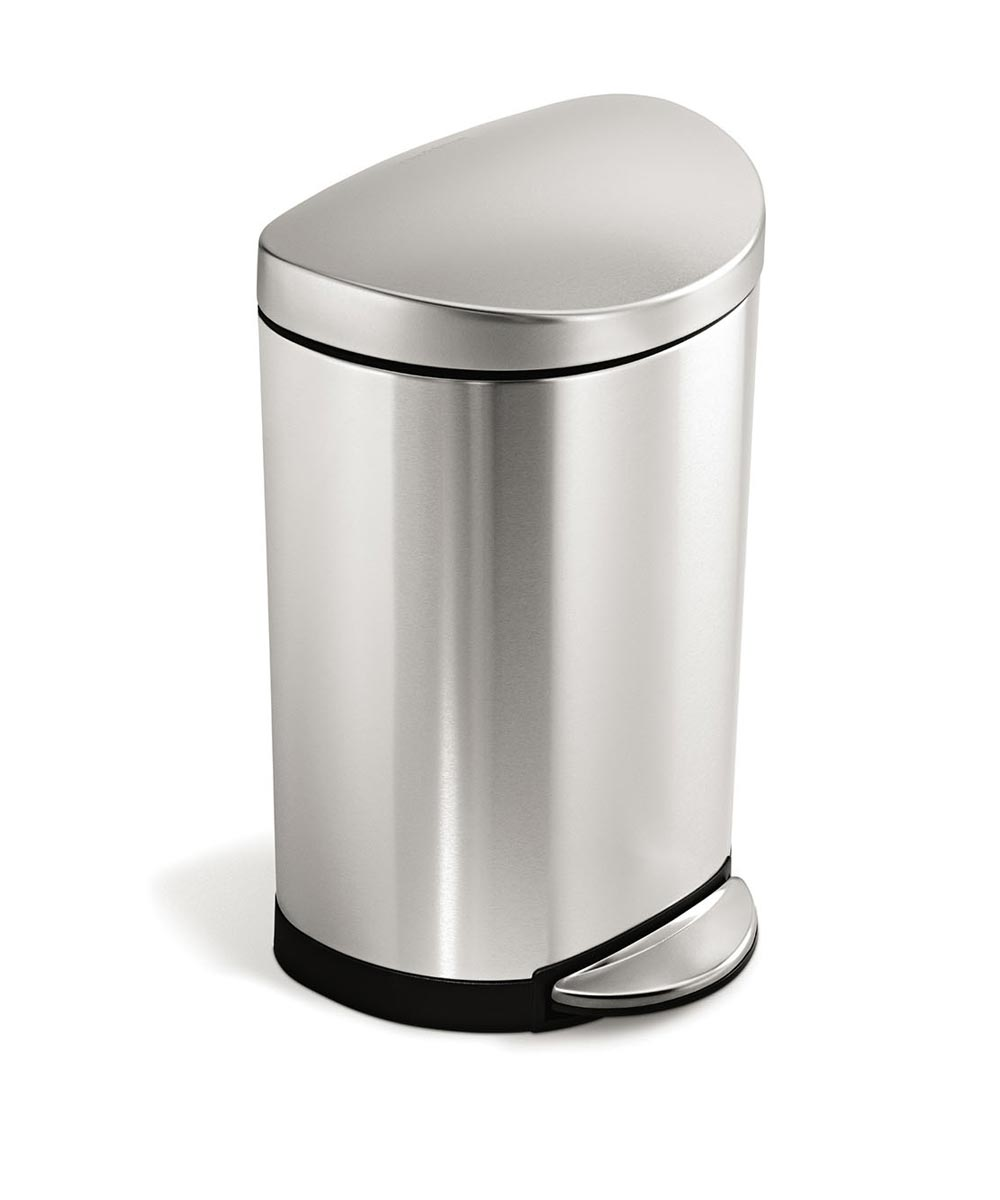 10 Liters/2.6 Gallons Semi-Round Step Trash Can, Stainless Steel
