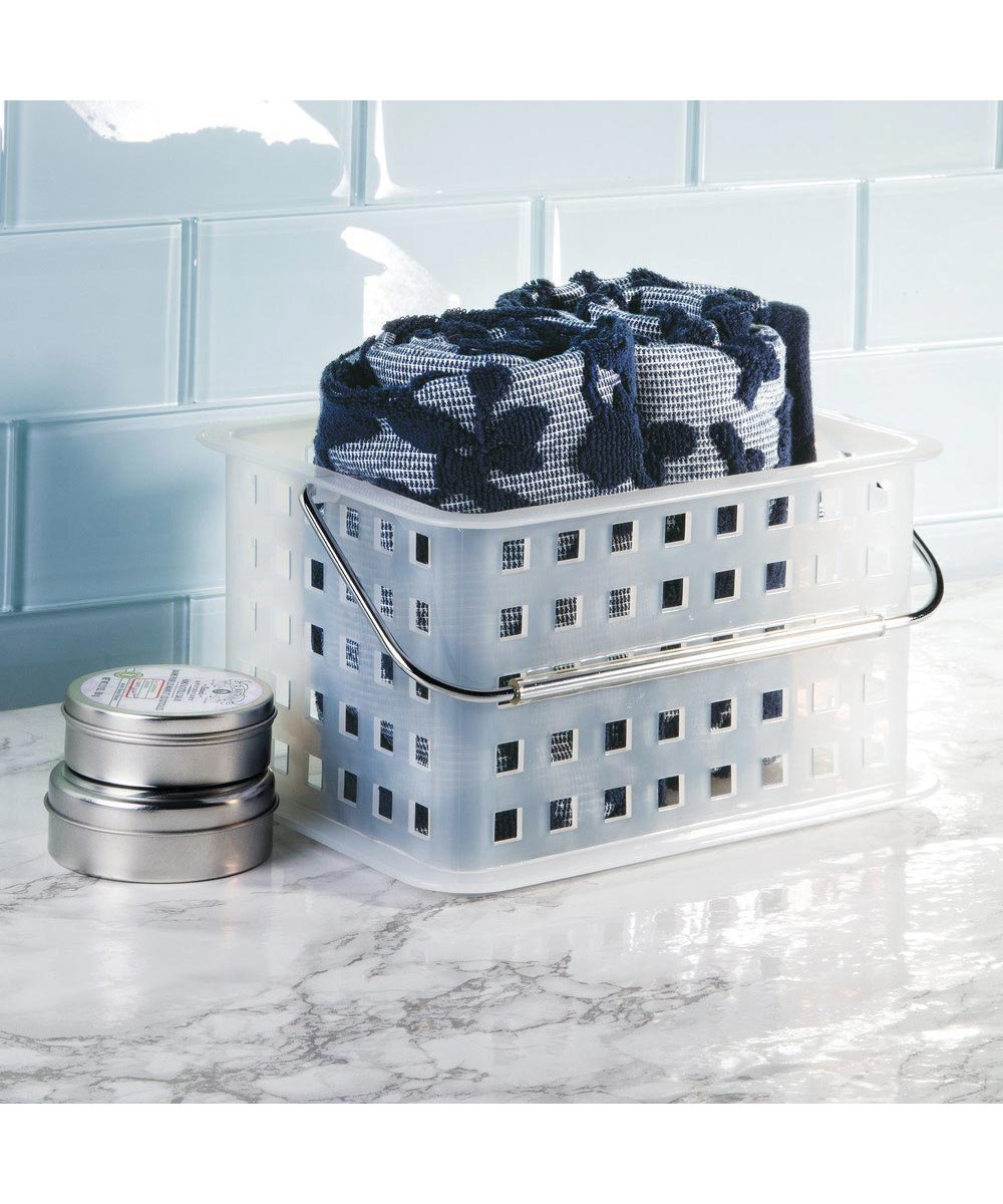Spa Storage Organizer Basket with Handle, Small, Frost Color