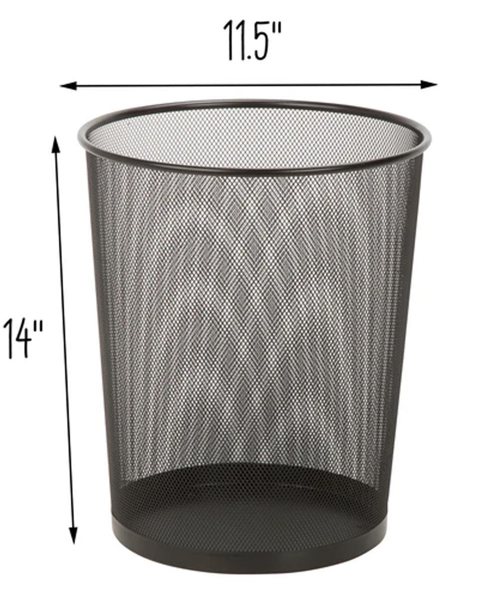 Round Metal Mesh Wastebasket, Black