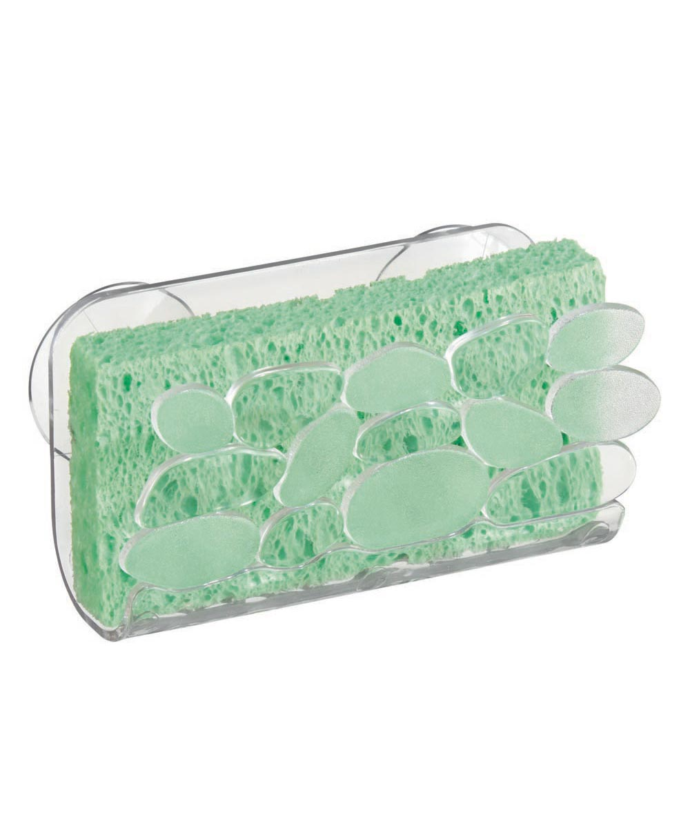 Pebblz Suction Sink Sponge Holder Cradle, Clear