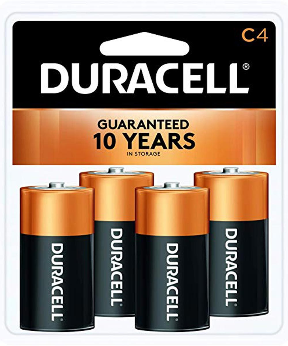 Duracell CopperTop C Alkaline Battery, 4 Pack
