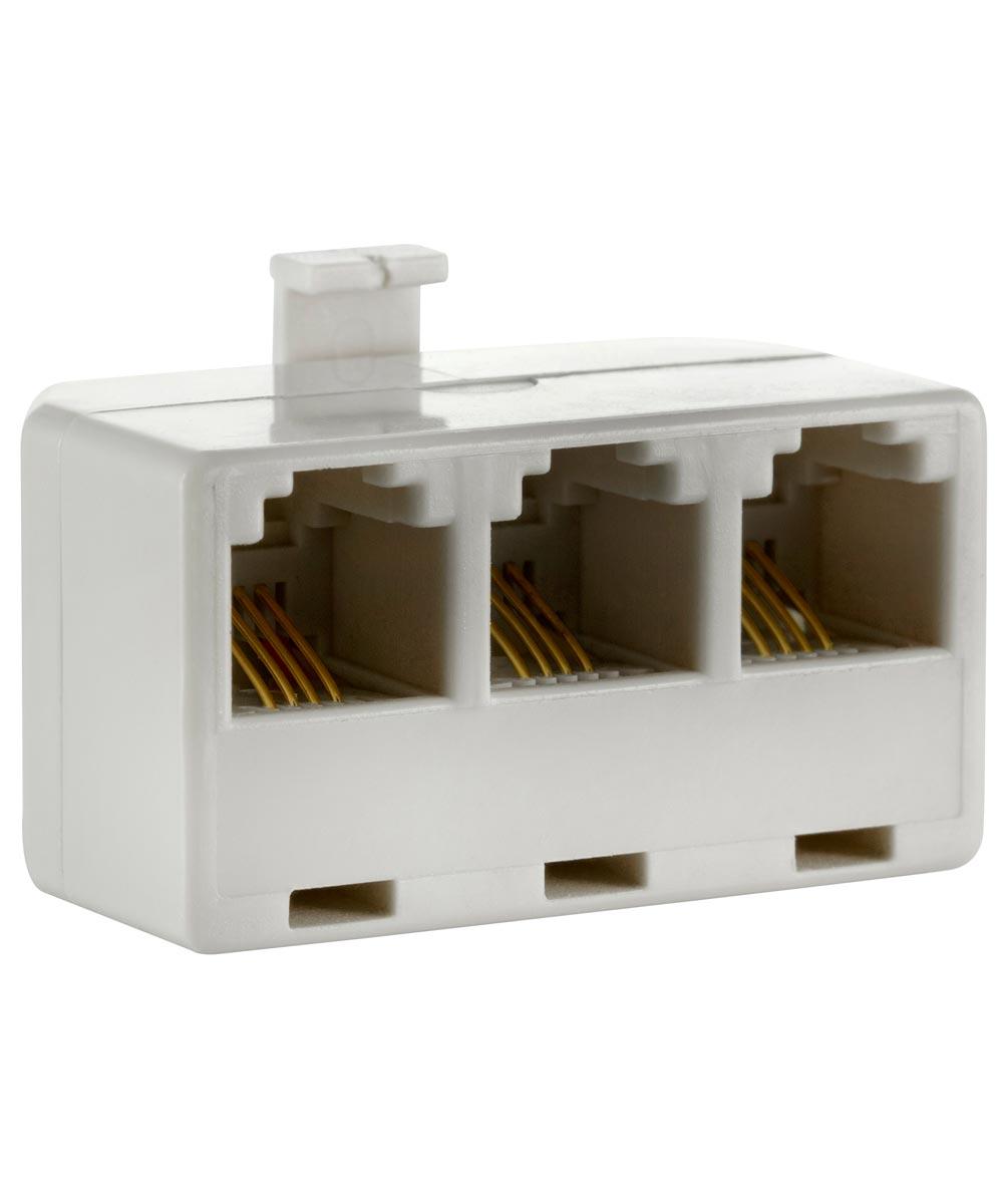 White Triplex Phone Jack Adapter