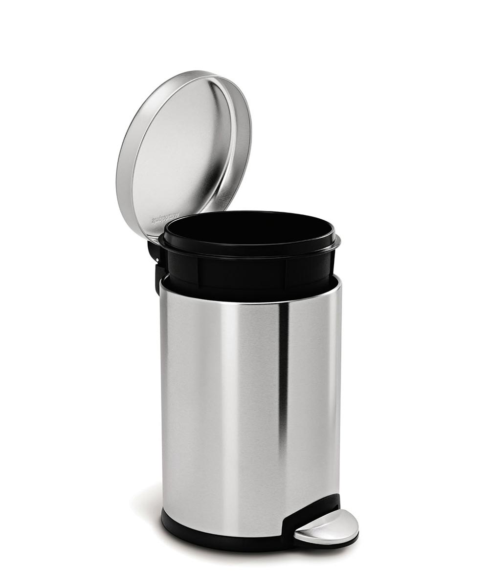 4.5 Liters/1.2 Gallons Round Step Trash Can, Stainless Steel