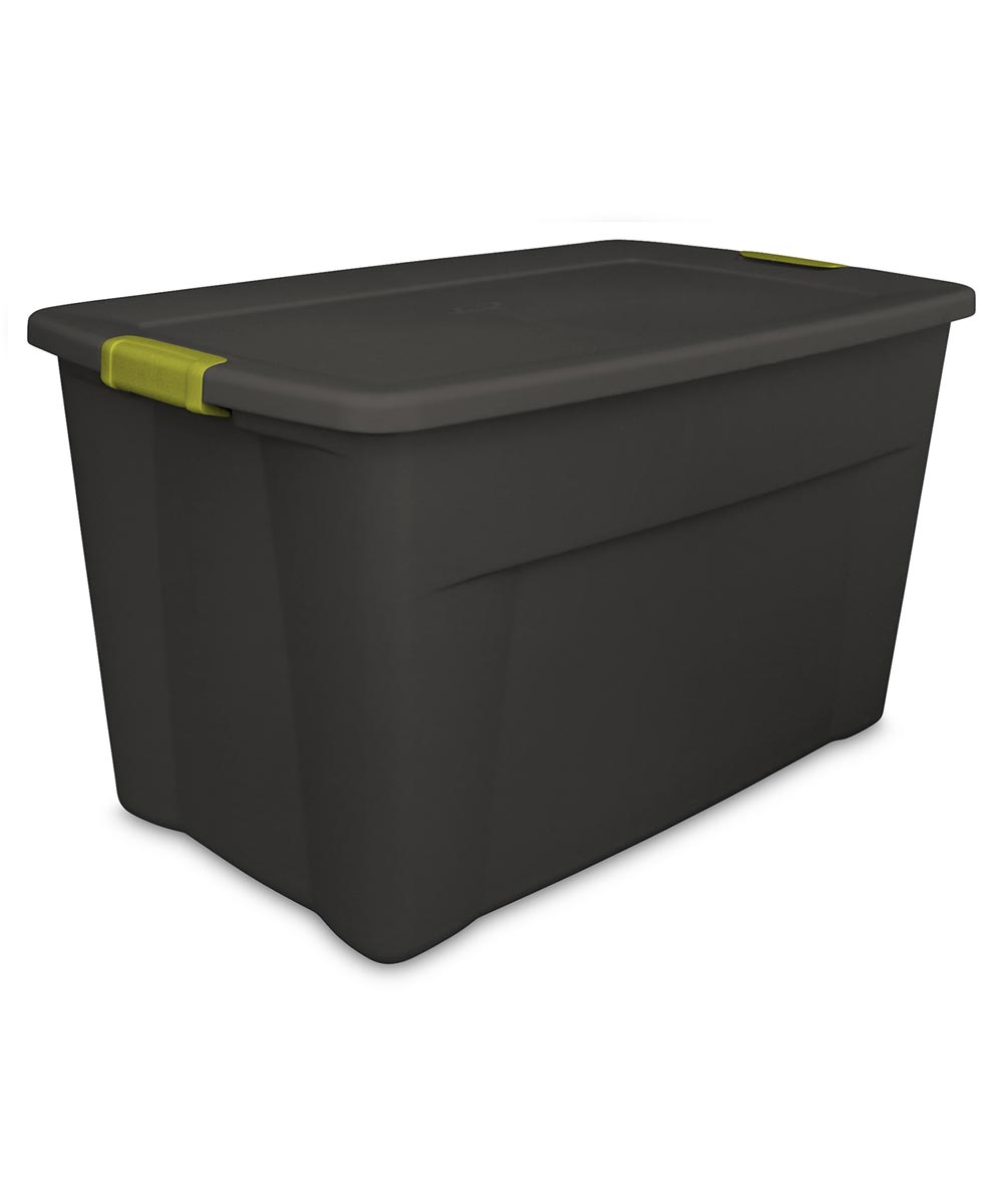 35 Gallon Flat Gray Tote With Green Latches