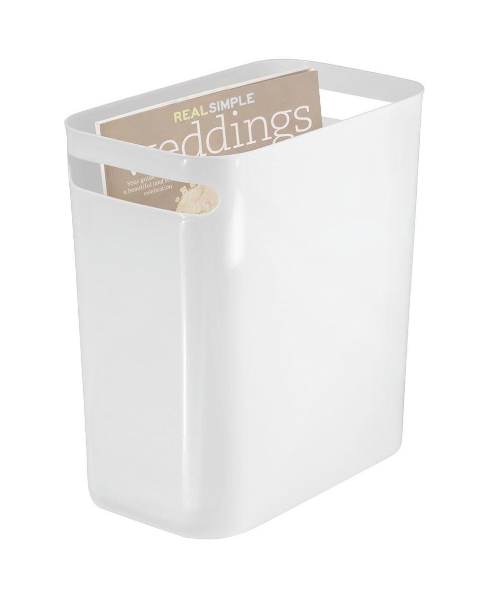 Una 12-Inch Plastic Wastebasket, White