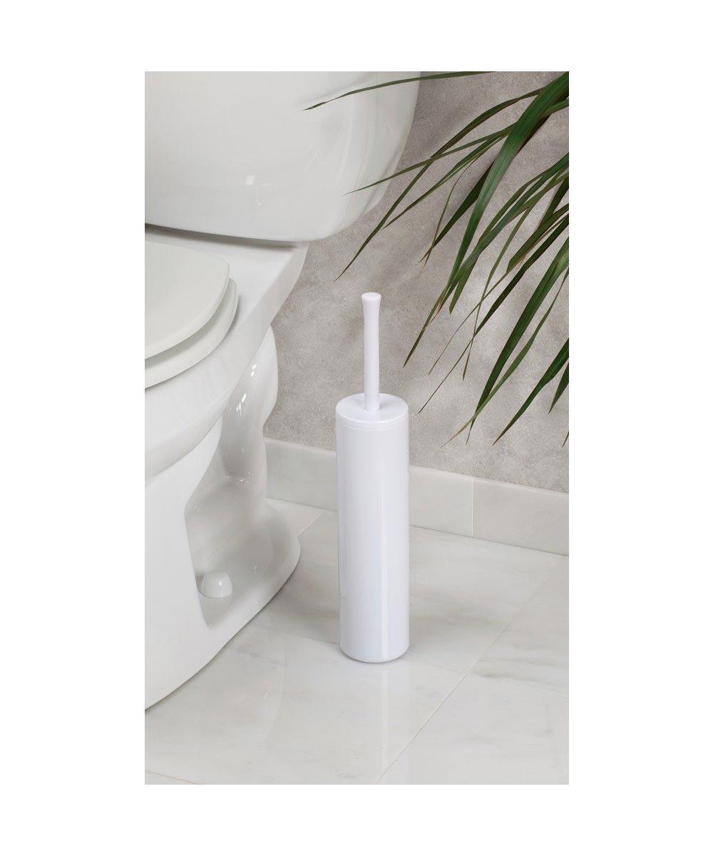 Una Slim Toilet Brush and Holder, White