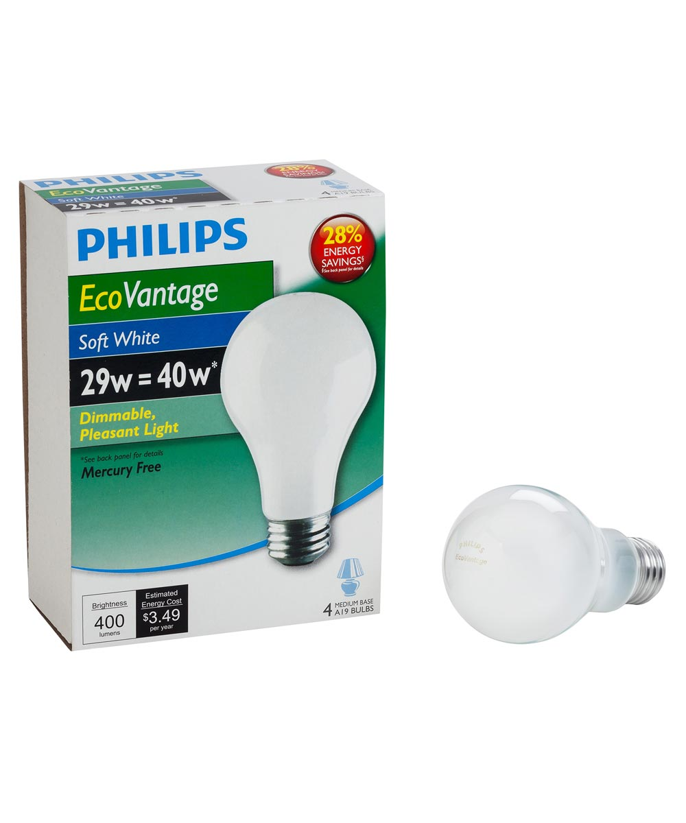 29 Watt A19 Soft White EcoVantage Light Bulb Pack 4 Count