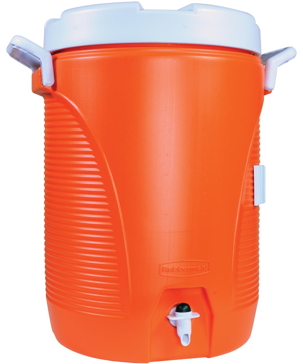 Heavy Duty Water Cooler, 5 gal, Polyethylene, Orange
