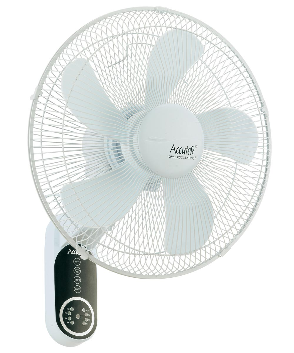 16 in. Oval Oscillating Wall Mount Fan with Remote Control, White