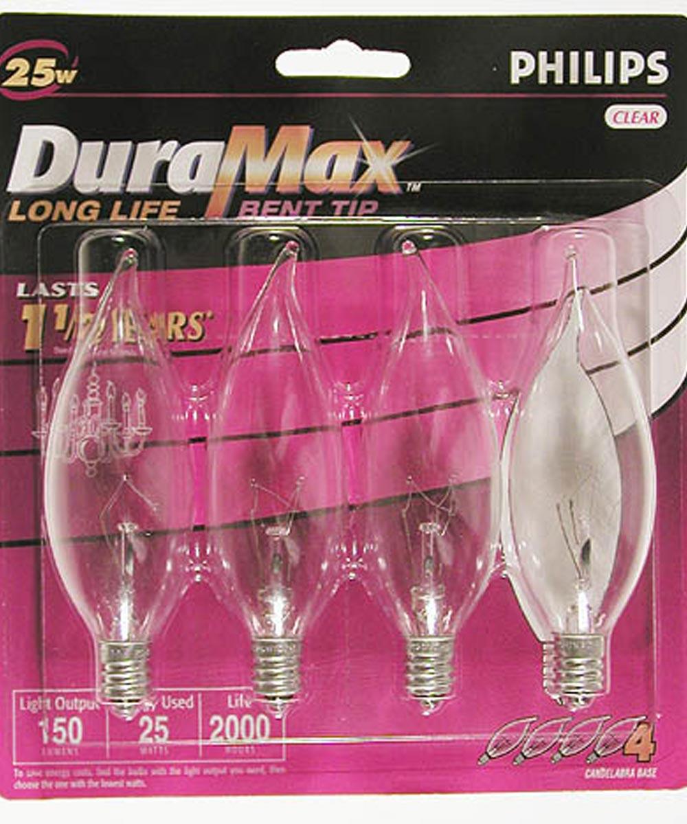 25 Watt DuraMax Bent Tip Chandelier Light Bulb 4 Count