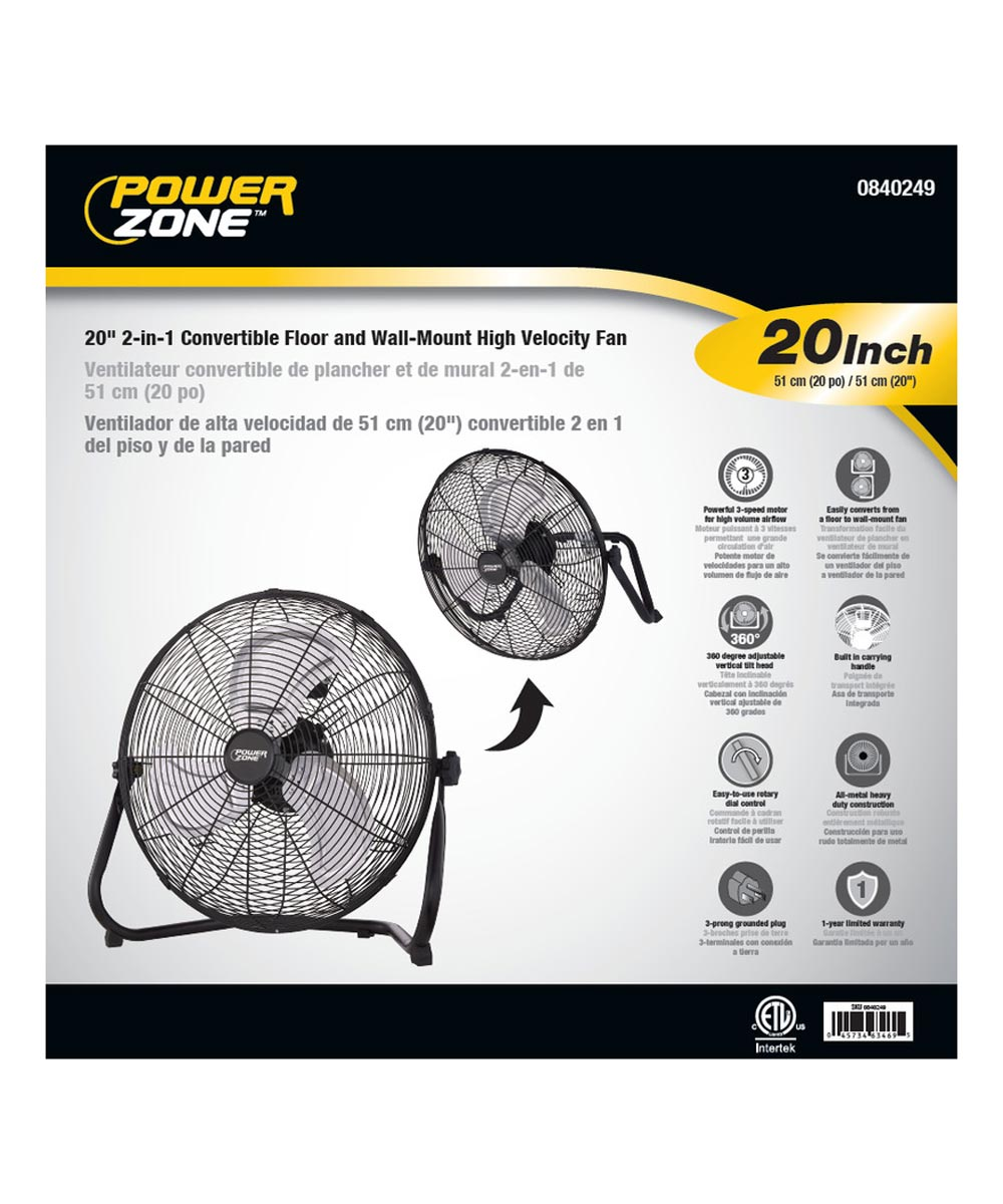 Powerzone 20 in. 2-in-1 Convertible Floor and Wall-Mount High Velocity Fan, Black